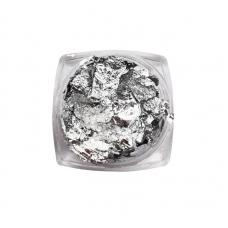 Фольга жатая, отрывная (поталь) для дизайна ногтей, серебро
